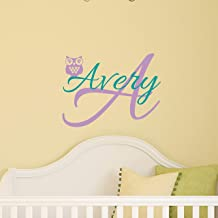 Custom Name Owl Nursery Wall Decal - Boys Girls Personalized Name Owl Wall Sticker - Custom Name Sign - Custom Name Stencil Monogram - Baby Nursery Room Wall Decor