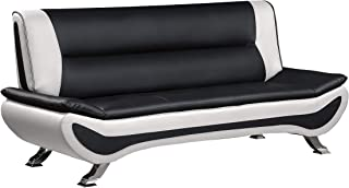 """Homelegance Faux Leather Low-Profile Sofa, 78"""" W, Black and White"""