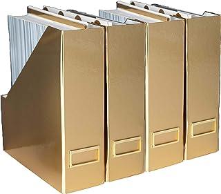 حامل ملفات مجلة ذهبي قابل للطي من بلو موناكو مع حامل بطاقة ذهبي - مجموعة من 4 صناديق من الورق المقوى - إكسسوارات مكتب ذهبية