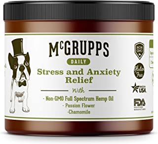 Mcgrupps Daily Stress & Anxiety Chews for Dogs | Full Spectrum Hemp Oil with Passionflower and Chamomile | Dog Stress & Separation Aid for Fireworks, Thunder, Barking | Made in The USA | 130 Count