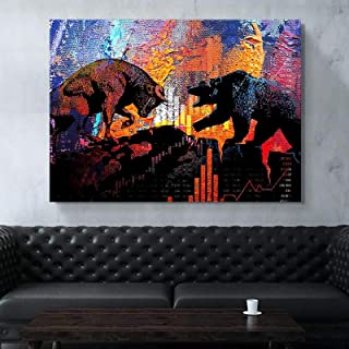 YOKOU Canvas Picture Creativity Stock Market Bull and Bear Posters and Prints Artwork Wall Art Living Room Bedroom Home De...