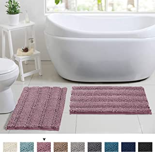 Ultra Thick Striped Chenille Plush Bathroom Rugs, Extra Absorbent Slip-Resistant Floor Mats, Machine Washable Fast Dry Soft Microfiber Door Mats (Set of 2, 17