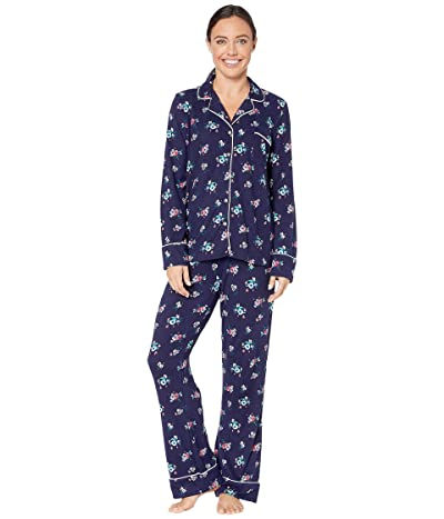 Splendid Pillowsoft Notch Collar PJ Set (Evening Blue Winter Bouquet) Women