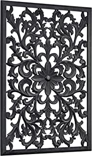 American Art Decor Hand-Carved Floral Wood Medallion Wall Art Decor – Hangs..
