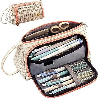 Astuccio Portamatite Grande Capacità, Astuccio per cancelleria cosmetici per ragazze astuccio a 3 scomparti, un Resistente...