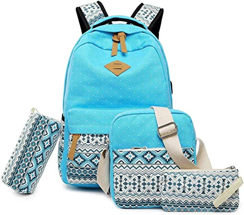 Set of 4 Casual Vezela Combo of Laptop Bag with USB Charging Feature with Lunch Bag Pencil Case Pouch