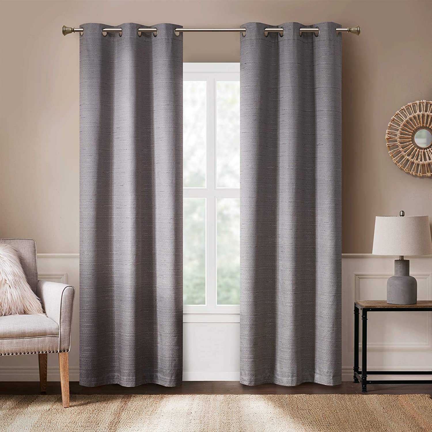Hyde Lane Modern Farmhouse Curtains for Living Room   Rustic Style Curtain  for Bedroom Window   Grasscloth Faux Linen   Room Darkening Grommet Top ...