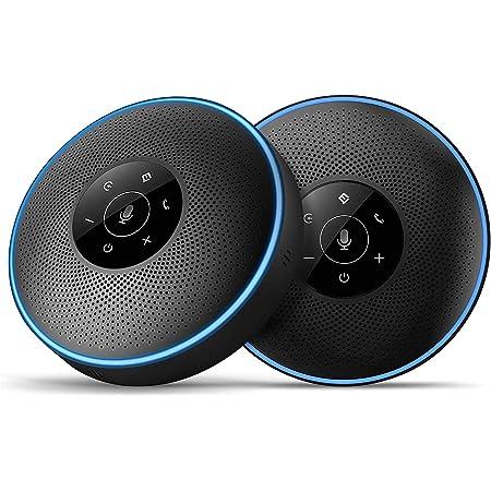 スピーカーフォン(2台セット) eMeet マイクスピーカー 連結機能 ワイヤレススピーカーフォン 8-16名程度の中大会議用 360˚全方向集音 エコー・ノイズのキャンセリング USB/Bluetooth/AUX対応 高音質 位置検出機能 LED指示 web会議用・多人数遠隔会議用・セミナー・家族会話用 Skype/ZOOM/Facetime/Wechat通話アプリ対応 M220 ブラック
