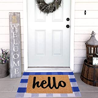 Homcomoda Doormats Cotton Plaid Checkered Area Rug Hand Braided Kitchen Floor Mats Runner Rugs Washable Carpet Blue&White (23.6