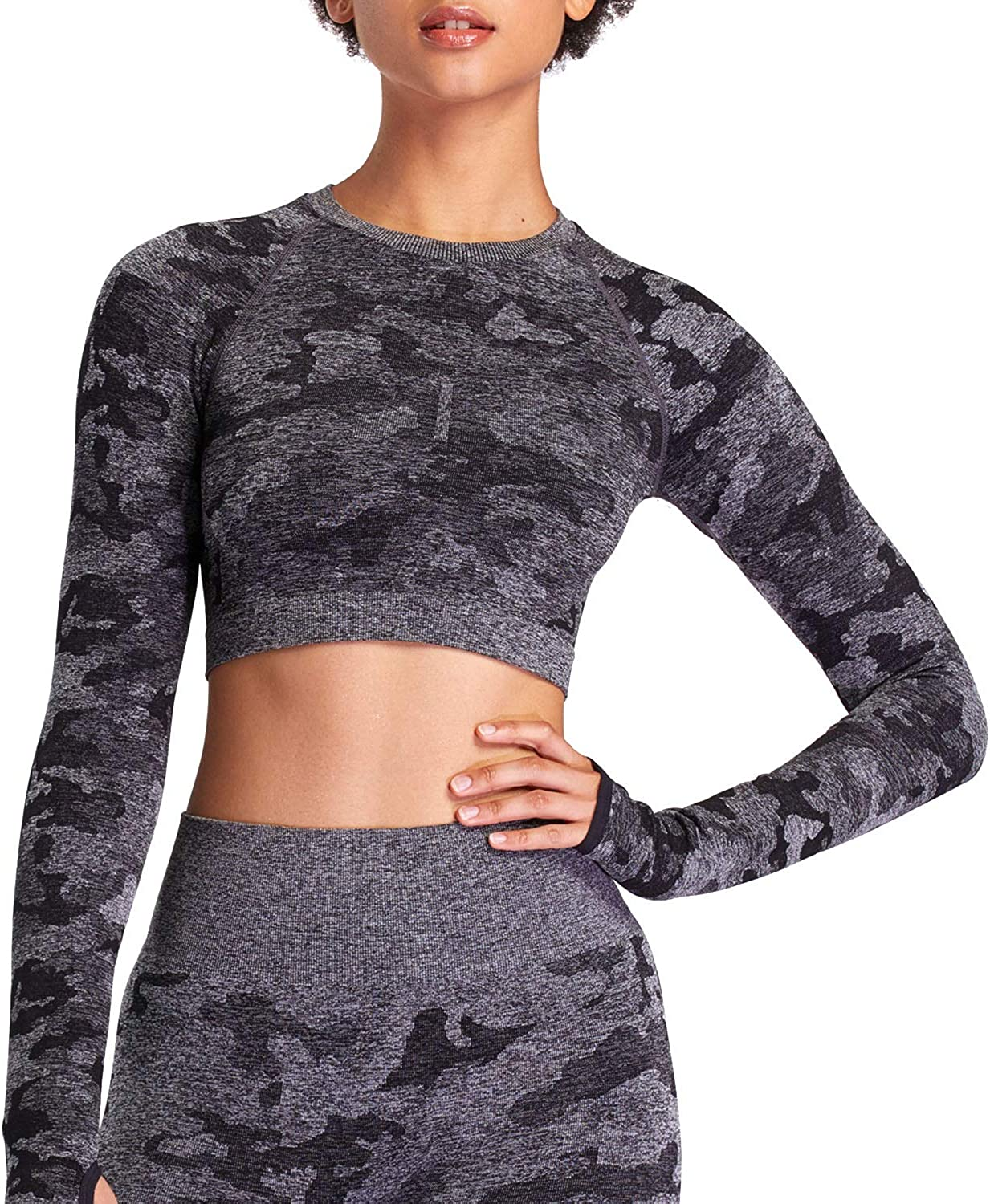 Aoxjox Women's Workout Adapt Super-cheap Camo Top Crop Sleeve Long Seamless NEW before selling ☆