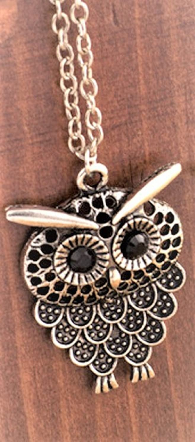 Vintage Lovely Owl Pendant Necklace Bronze or Silver (Antique Silver)
