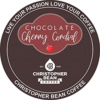 Chocolate Cherry Cordial Single Cup, Christopher Bean Coffee (18 Count Box) Compatible With K Cup Brewer.