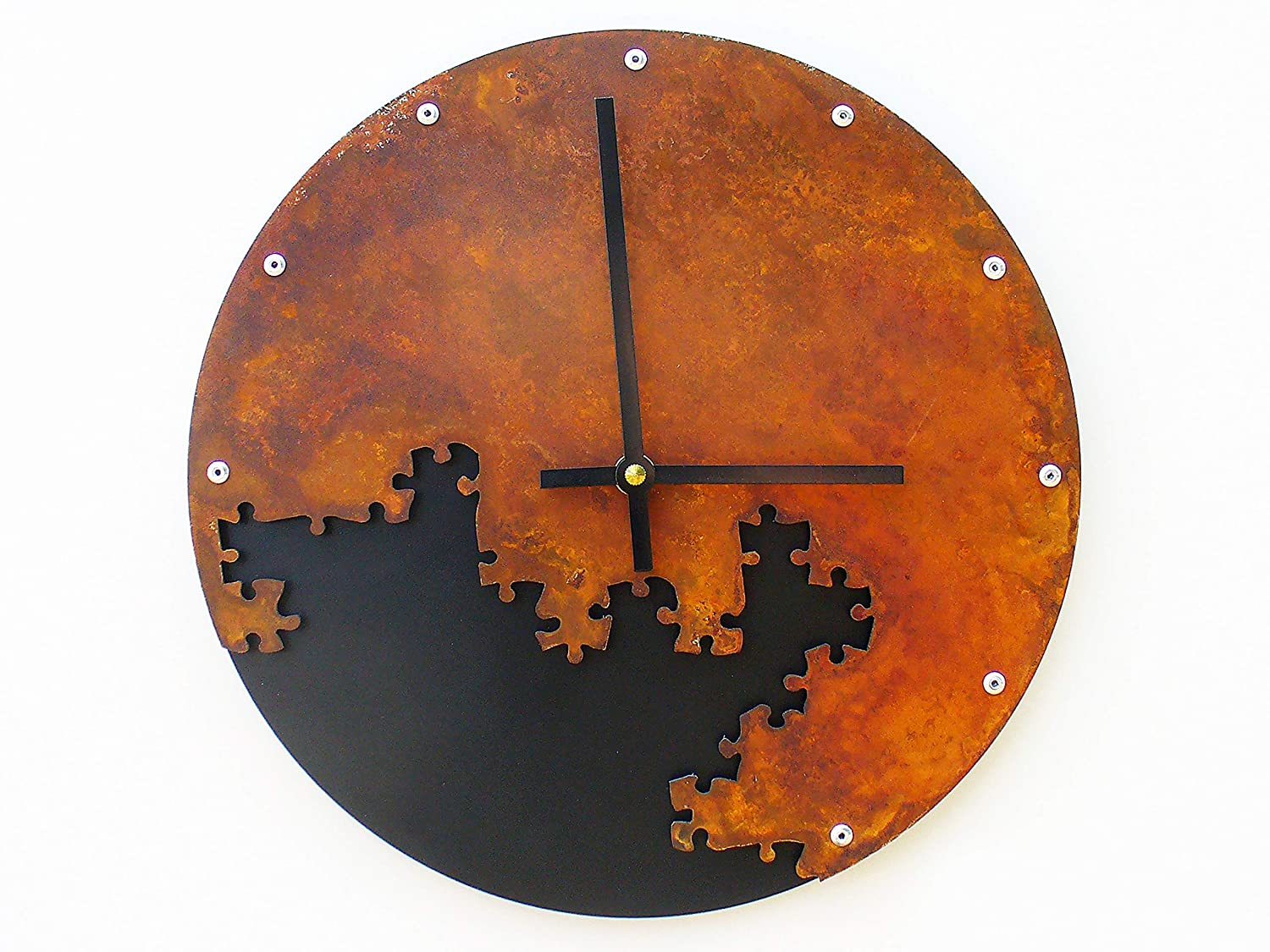 Puzzle III Wall Clock in Medium Black Clearance SALE! Limited time! Soldering Rust