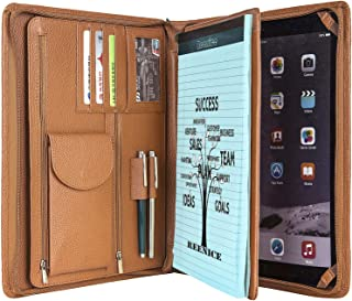 Custom Engraved Leather Portfolio Padfolio Office Organizer Cowhide Business Handmade Briefcase Zippered Folio Card Pad Holder for Conference Letter Size/ A4 Legal Pad Executive iPad/Tablet Folder