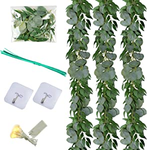 Felice Arts 3 Pack 6.5 Feet Artificial Eucalyptus Leaves Garland with Willow Vines Leaves Greenery Garland for Wedding Table Runner Centerpiece Arch Bridal Baby Shower Decor