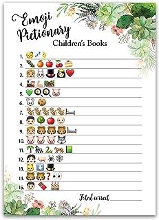 SUCCULENTS EMOJI Baby Shower Game — Pack of 25 — EMOJI Pictionary Children's Book Baby Shower Game — Floral Green Succulent — Greenery Emoji Game, Green Baby Shower Game/Shower Activity SKU G300-EMJ