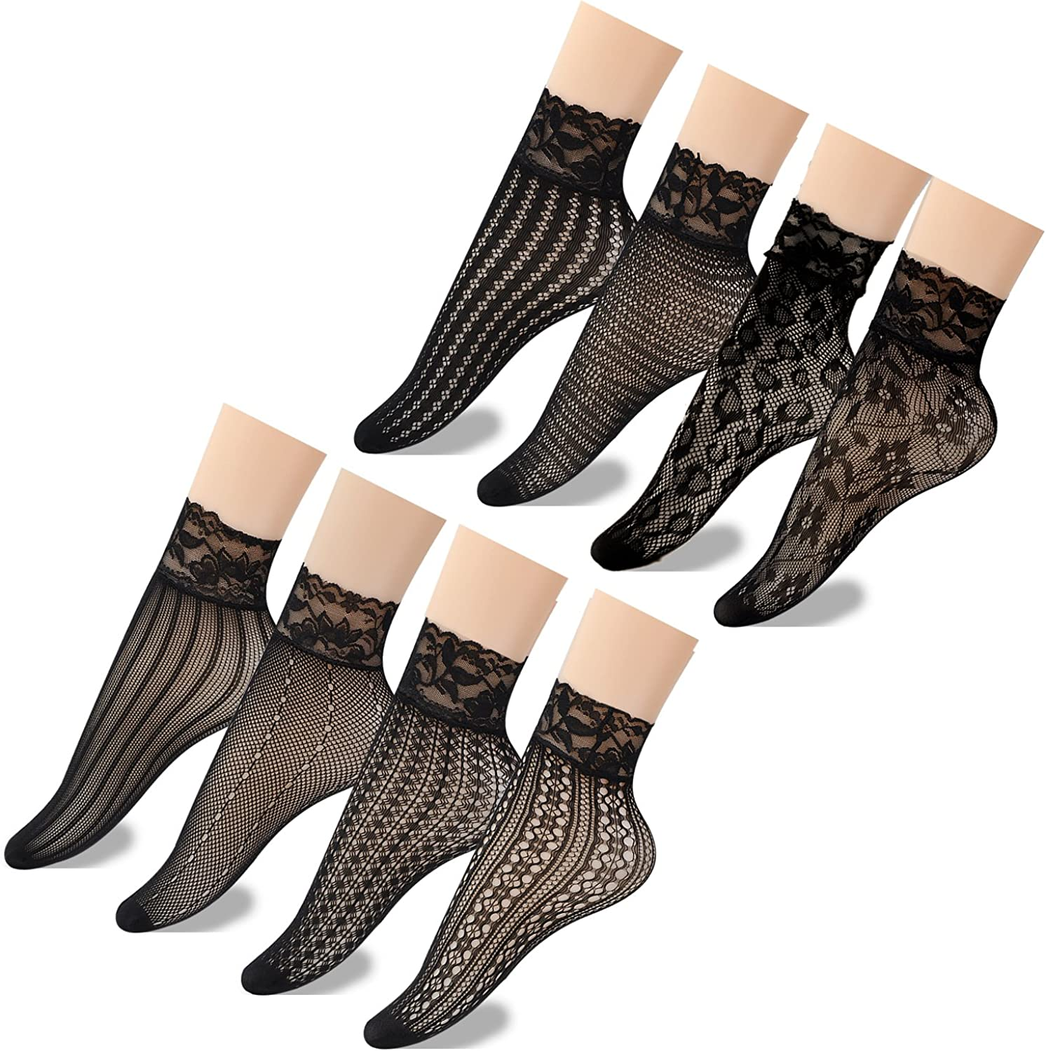 Epeius Women's Lace Fishnet Ankle Socks