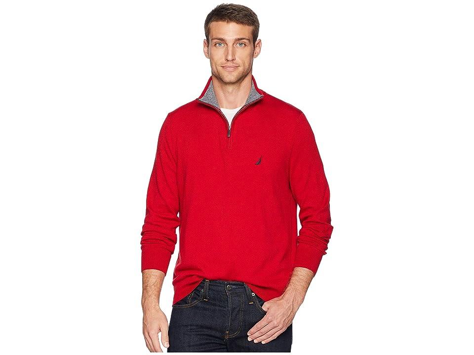 Nautica 12 Gauge 1/4 Zip Sweater (Nautica Red) Men