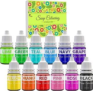 Colorants de Savon - 12 Couleurs Colorant Liquide de Savon Qualité Alimentaire pour la Fabrication de Savon, Bombe de Bain...