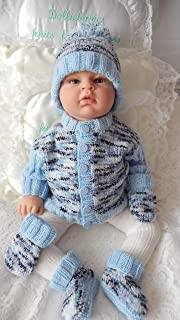 DollieBabies Knitting Pattern 60 - Baby Boy's Easy Knit Ribbed Sleeve Cardigan