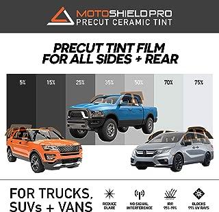 MotoShield Pro Precut Ceramic Tint Film [Blocks Up to 99% of UV/IRR Rays] Window Tint for Trucks, SUVs, Mini Van - All Side Windows + Rear Only, Any Tint Shade