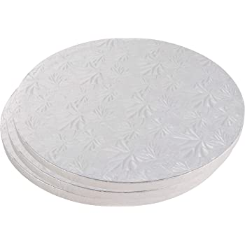 Juvale Cake Boards Rounds - 3 Piece Silver Foil Pizza Base Disposable Cake Drums, Corrugated Paper Board, 14 Inches in Diameter