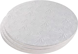Cake Boards Rounds - 3 Piece Silver Foil Pizza Base Disposable Cake Drums, Corrugated Paper Board, 12 Inches in Diameter