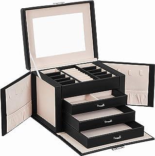 SONGMICS Boîte à Bijoux, Coffre Bijoux, Rangement beauté 4 Niveaux, Organisateur avec Plateaux, revêtement Velours