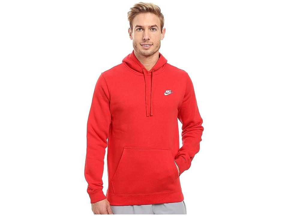 b7930b67a02f Nike Club Fleece Pullover Hoodie (University Red University Red White)  Men s Fleece