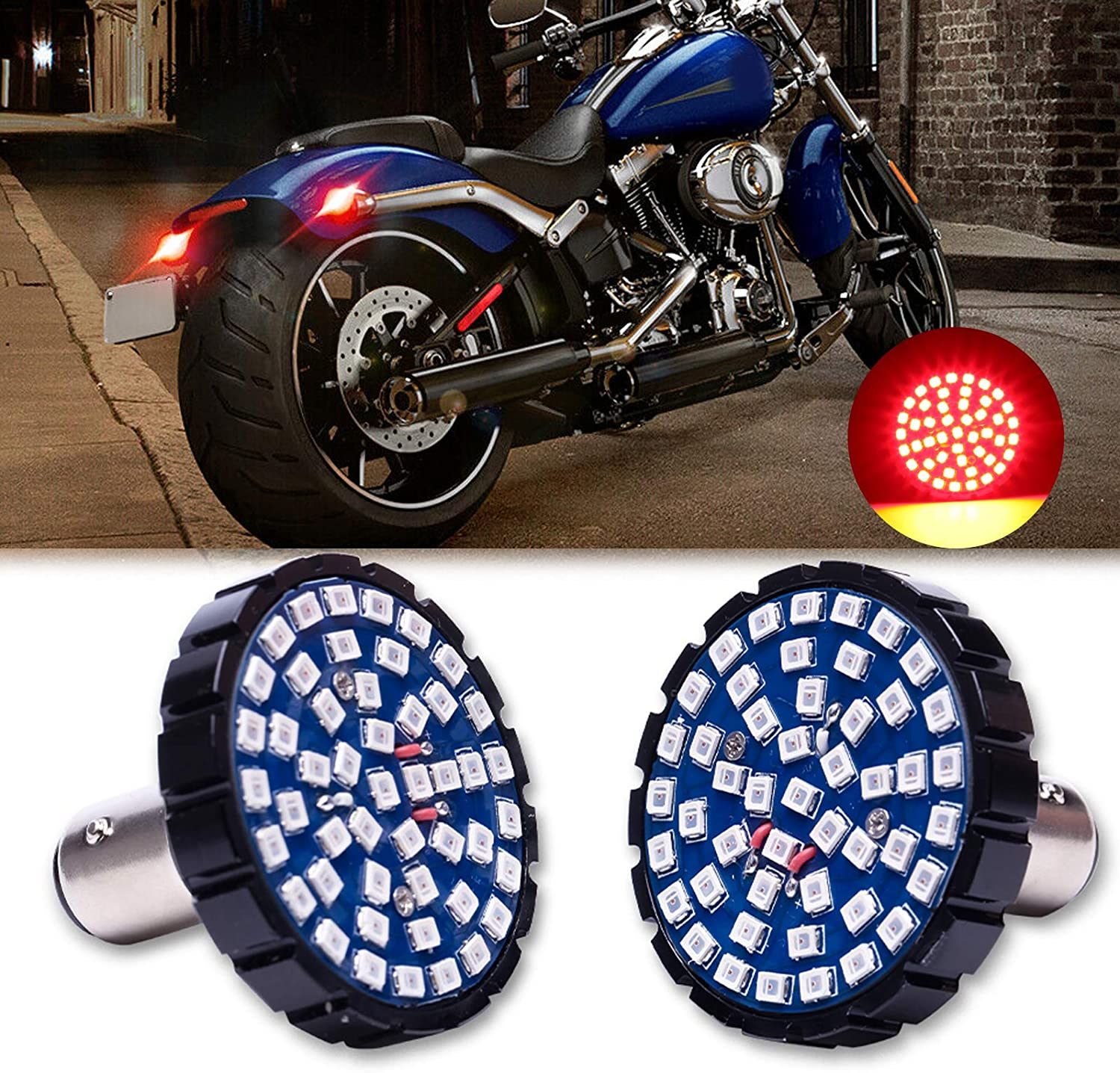 Front Turn Signals 2 Amber LED Motorcycle Front Rear Tail Lights Turn Signals /& Running Light with 1157 Insert Kit for Harley Davidson Street Glide Softail XL883N Iron 883 2009-2014