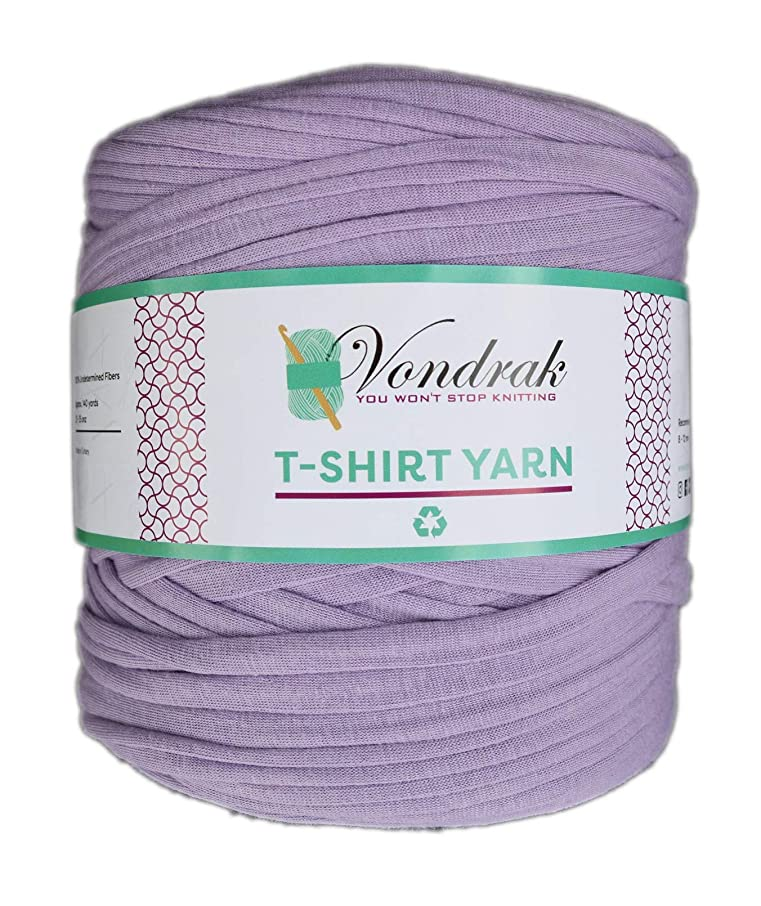T-Shirt Yarn Recycled 130 Yards 1.5 lb Bulky Yarn│Jersey Yarn│Fabric Yarn │T Shirt Yarn for Crochet │ Knitting Tshirt Yarn │ Home Decor DYI Supply │ Recycled Yarn │Trapillo (Lilac)