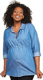 Women's Maternity Convertible Sleeve Front Pocket Button Up Woven Shirt