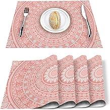 Queen Area Mandala Placemats Set of 6 for Dining Table Washable Burlap Linen Placemat Non-Slip Heat Tolerant Kitchen Table...