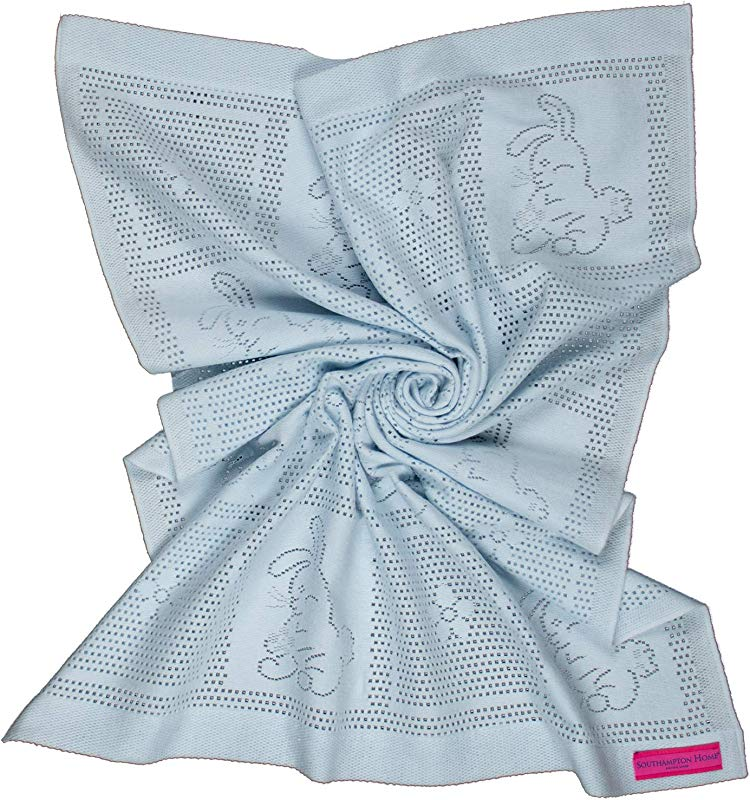 Southampton Home Lace Weave Bunny Baby Blanket Blue