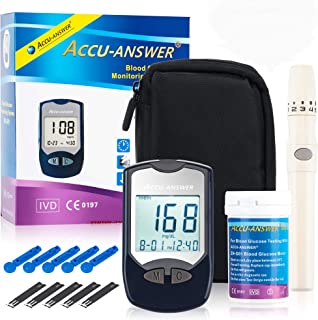 AccuAnswer Diabetic Monitoring Kit - Blood Glucometer Testing Kit - Home Diabetes Sugar Tester with Strips - Complete with Lancet Kit and a Manual