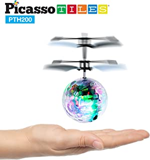 PicassoTiles Flying Ball Helicopter Toy Drone AI Control Suspension Artificial Intelligent Infrared Induction Self Lifted Aircraft with Motion Sensor Built-in Rechargeable Battery Flashing LED PTH200