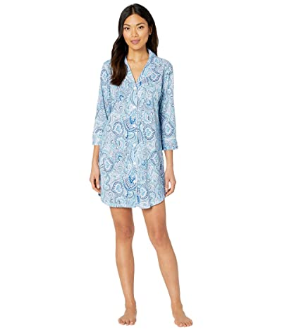 LAUREN Ralph Lauren Cotton Rayon Jersey Knit 3/4 Sleeve Notch Collar Sleepshirt (Blue Print) Women
