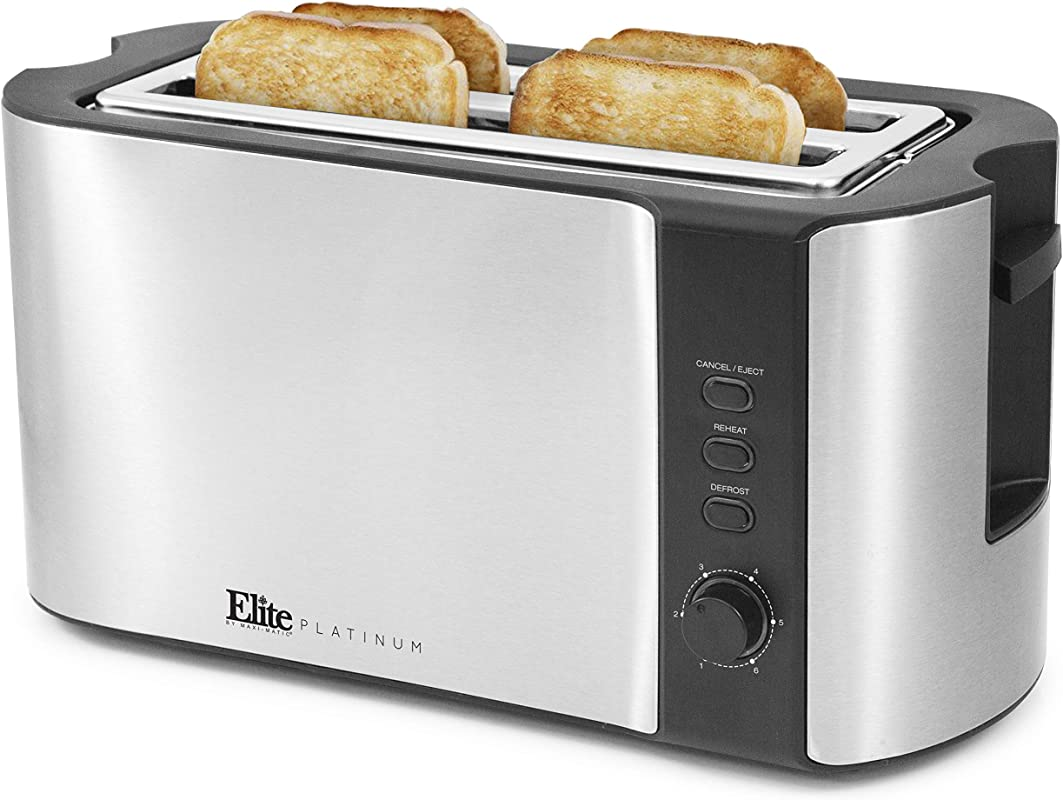 Elite Platinum ECT 3100 Stainless Steel Long Slot Toaster Bagels Specialty Breads Reheat Cancel Defrost Settings 4 Slice 1300 Watts Stainless Steel Black