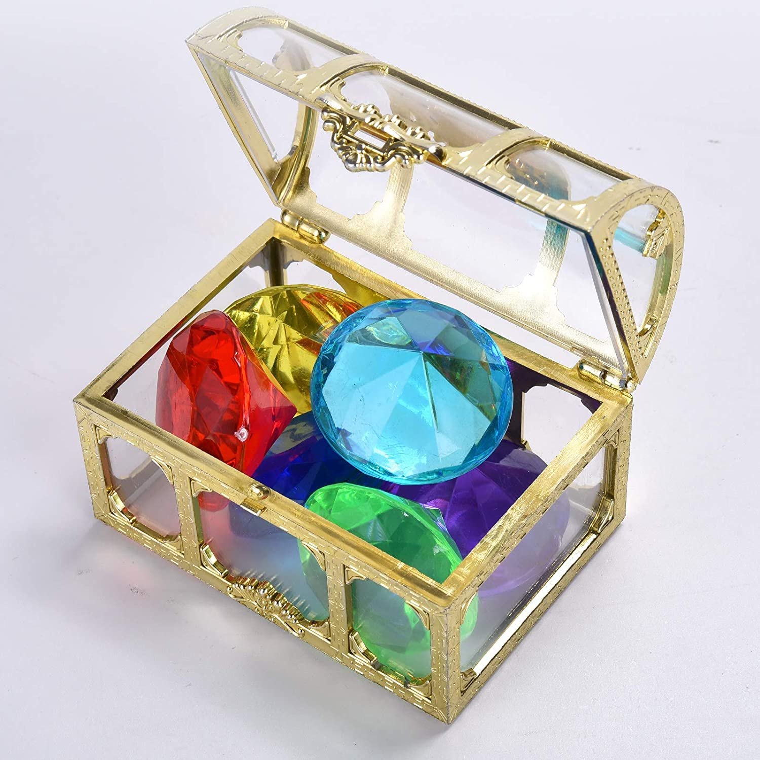 silver white Diving Gem Pool Toy Colorful Big Diamond Set with Treasure Pirate Box Summer Swimming Gem Diving Toys Set Dive Throw Toy Set Underwater Swimming Toy for Pool Use Treasures Gift Sets