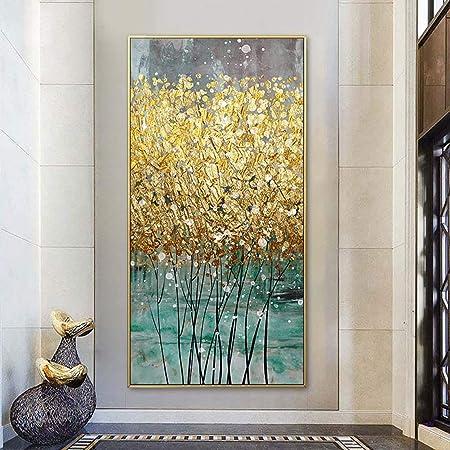 YIYAOFBH Quadro su Tela Astratto Pesce doro Stampa Grande Poster Blu Lussuosa Arte della Parete per Soggiorno Corridoio///Immagine in/Oro/20x30 cm 7,8x 11,8///con Cornice