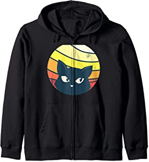 Cat Peeking - Funny Sunrise Retro Vintage Graphic Zip Hoodie