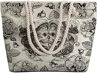 Sleepwish Large Beach Bags Canvas Extra Large Tote Bag with Top Zipper Closure and Waterproof Trendy Print Womens Spacious Summer Handbag (Vintage Couple Skull)