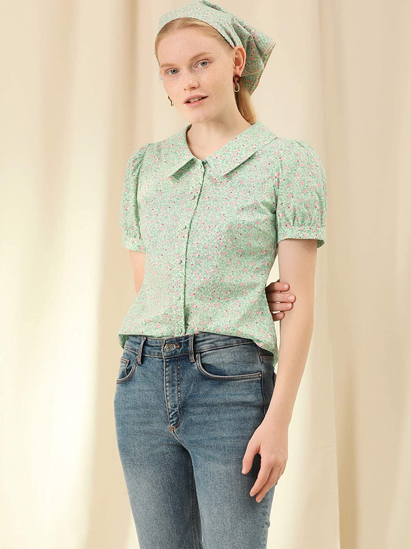 Allegra K Women's Puff Sleeves Shirt Point Collar Top Button Down Floral Blouse
