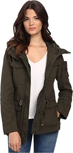 Washed Cotton Fashion Four-Pocket Military w/ Hood