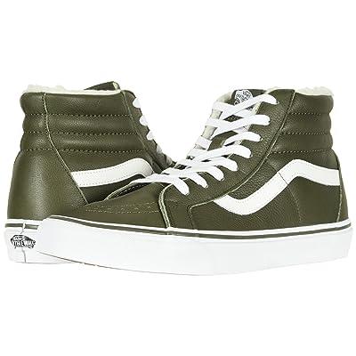 Vans SK8-Hi Reissue ((Leather/Fleece) Olive Night/True White) Skate Shoes