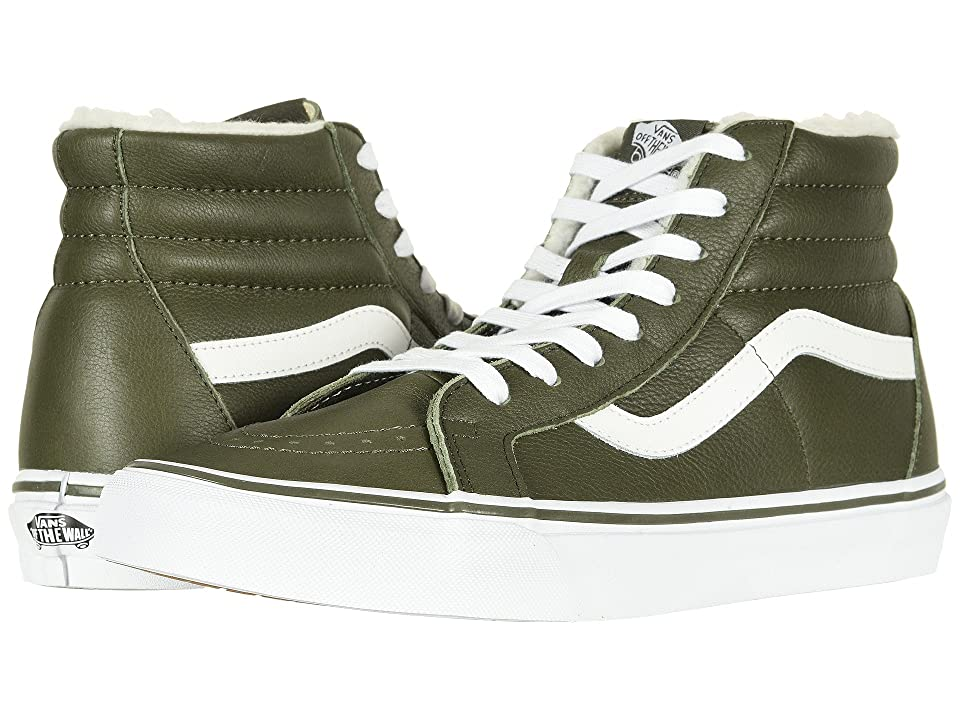 Vans SK8-Hi Reissue ((Leather/Fleece) Olive Night/True White) Skate Shoes