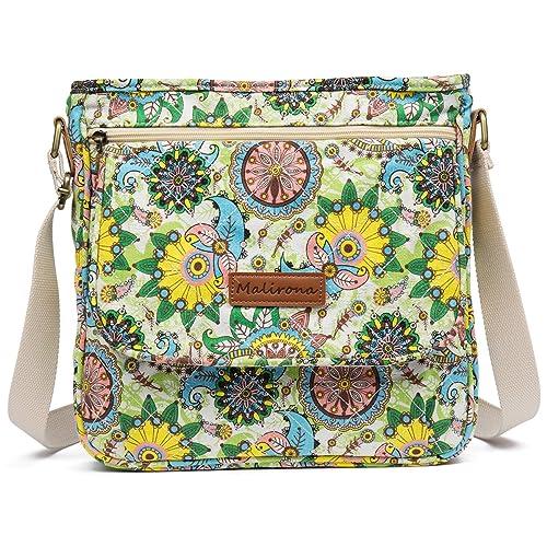 Malirona Canvas Messenger Bag Cross Body Purse Women Travel Purse Shoulder  Satchel Floral Pattern 6c8122e37fe88