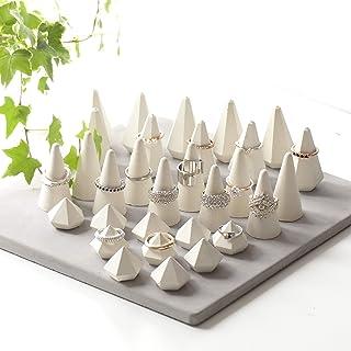 Juego de 30 Porta Anillos de Hormigón Blanco, Conos Y Diamantes Para Exhibiciones de Joyería Artesanal.