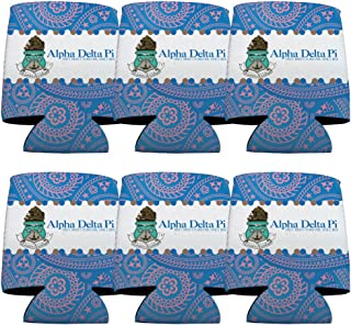 VictoryStore Can and Beverage Coolers - Alpha Delta Pi, Paisley Print Design, Set of 6