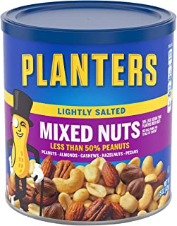 PLANTERS Lightly Salted Mixed Nuts, 15 oz Canister (Pack of 3) - Less than 50% Peanuts, Almonds, Cashews, Pecans, Brazil N...